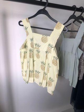 Pineapple yellow babydoll top