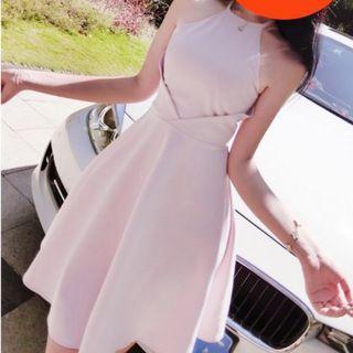 (Free Postage) Blush Pink Halter Neck Dress