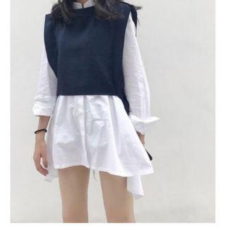 (Free Postage) White Long Sleeve Blouse + Black Lace Up Vest Suit (2 Piece Tops)