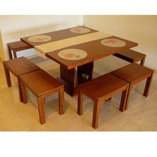 Scanteak solid square dining table and chairs 8 seater