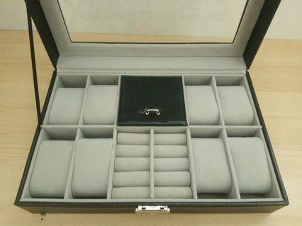2 In One 8 Grids Watch Storage Organizer Box And Ring Collection Boxes Black