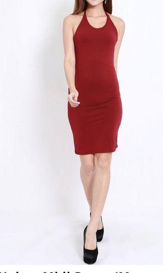 🚚 Carrislabelle halter midi dress in red
