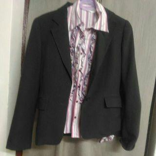 可換物1500) M號Jo-an瓊安專櫃 前双蕾絲襯衫+西裝外套
