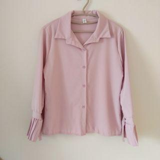 🚚 粉色袖口設計長袖襯衫