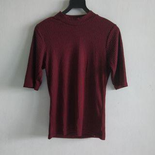 🚚 [3 for $10] Cotton on Maroon / Burgundy Ribbed Top