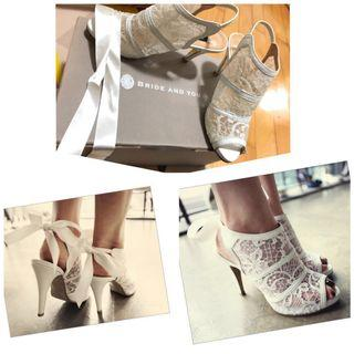 Bride and you white lace shoes