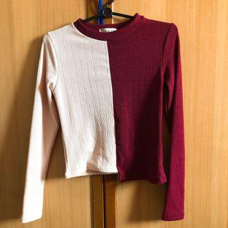 [INSTOCK] Red/Pink Long Sleeved Knitted Crop Top Tee