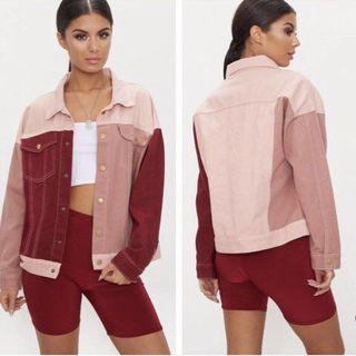 [INSTOCK] Red/Pink Colourblock Oversized BF Suede Jacket Outerwear