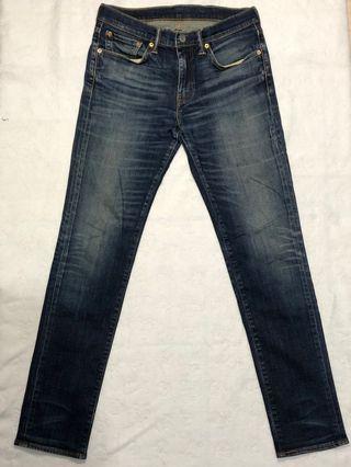 Levi's levis 511(005111400) W31 L34 二手刷色刷紋窄管牛仔褲