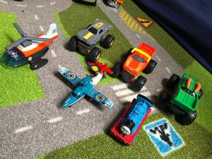 Toy vehicles, planes and trains