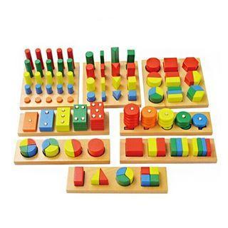Preschool Educational Geometry Shape Board Wooden Toy Montessori Teaching Aid