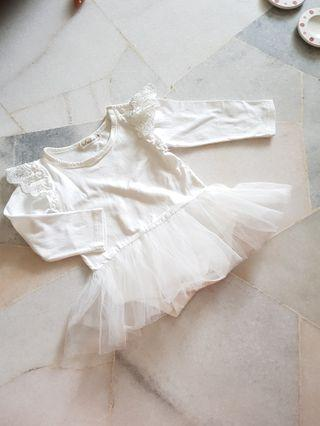 Baby Girl White Pom Dress (12-18m)