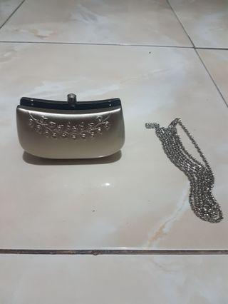 Silver mini clutch