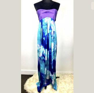 Sheike sz 10 Limited Edition Bday 30 years purple blue strapless maxi dress cute