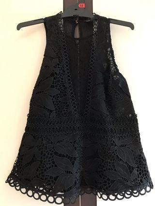 Top Shop Black Lace Peplum Top - Brand New