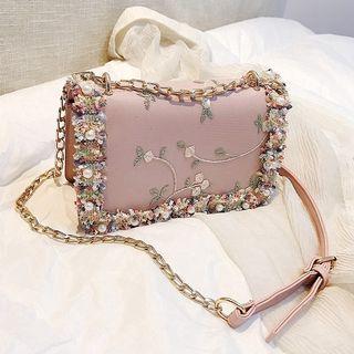 Vintage Pearl Embellished Retro Purse Clutch Handbag Sling Bag Muslimah