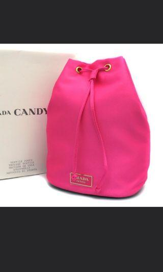 🚚 Prada Candy Pink Drawstring Pouch