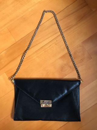 Black Saffiano Leather Envelope Bag