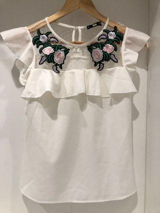Floral embroidered, sheer detail white blouse