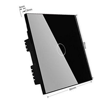 (J) Wallpad 110-250V 1-200W 1 Gang 1 Way Capacitive Black Glass Touch Sensor Light Switch