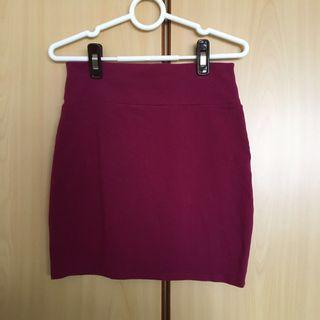 Maroon Bandage Skirt