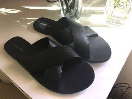 Black Leather Slides | Sandals