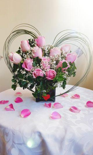Pink Roses - special table arrangement