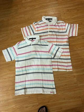 Bundle of 2 folded and hung cotton collared shirts