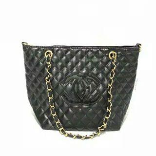 Chanel Quilted Black Gold Chain Bag