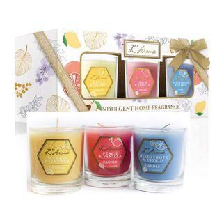 L'Aroma Candle Set (Mango & Coconut scent, Peach & Vanilla scent, Heliotrope & Citrus scent), 60g x 3