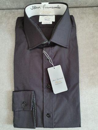 TM Lewin Slim Fit Black Shirt