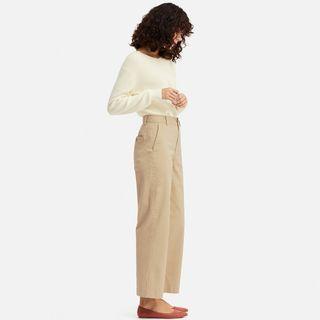uniqlo 女裝 高腰卡其寬版直筒褲 size 64