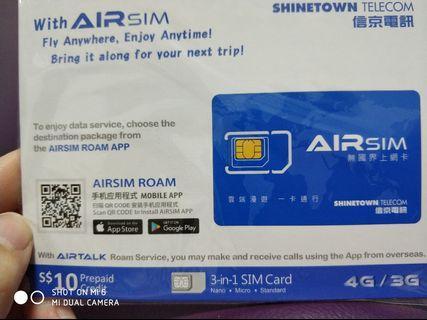 Airsim 3-in-1 SIM card with $10 value