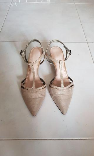 Charles and Keith  Silver kitten Heels