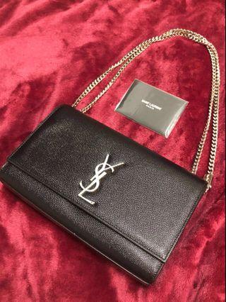 New - Medium Kate - YSL KATE MEDIUM IN GRAIN DE POUDRE EMBOSSED LEATHER (Black & Silver Tone)