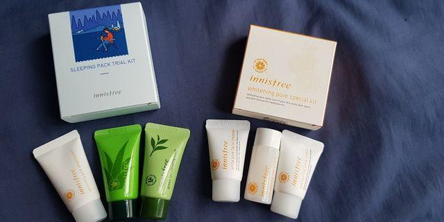 Innisfree special kit and Travel kit; FREE 4-pc innisfree samples
