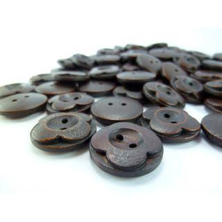 WB09026 - 20mm Flower Crafted Wood Buttons, Wooden Buttons (10 pieces)