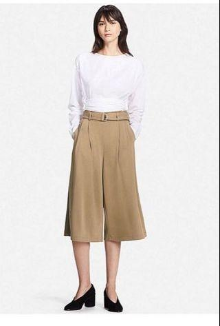 uniqlo beige belted cropped pants