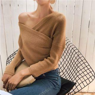 Brown Ribbed Off Shoulder Cropped Sweater