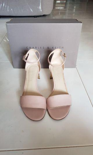 Charles and Keith Pink & Gold Sandals Heels
