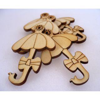 WB09002 - Umbrella Wood Applique, Wooden Buttons (5 pieces)