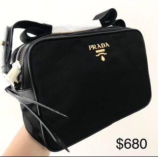 079ce4cdc585 PRADA Black Nylon Sling Bag 100% AUTHENTIC+BRAND NEW! #1BH089