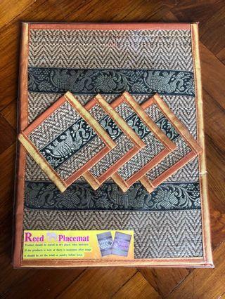 Reed placemat Thailand 一套枱墊杯墊名一4件