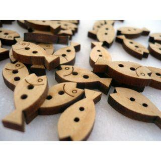 WB09042 - mini fish wood buttons, wooden buttons (10 pieces)   #craft