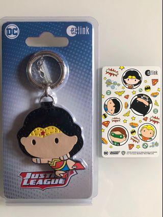 Brand new limited edition set of DC Comics Justice League Ezlink card and Wonder Woman Ezlink Charm for sale .