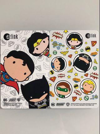 2 brand new DC Comics Justice League Ezlink cards selling as a set .