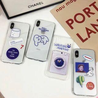 [po] #068 transparent doodles phone case