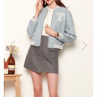 anticlockwise greyish-blue leather bomber jacket