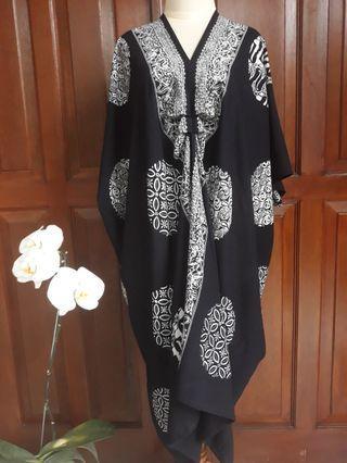 Kaftan batik paris hitam selampad