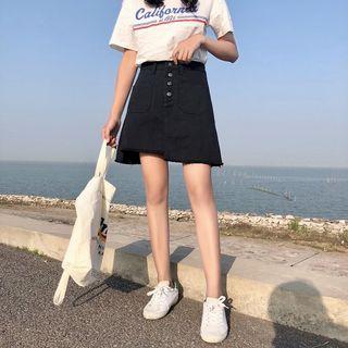 [Instock] Korean Black High Waist Denim Skirt